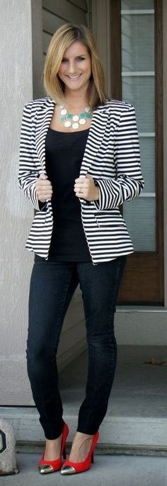 How To Wear Striped Blazer