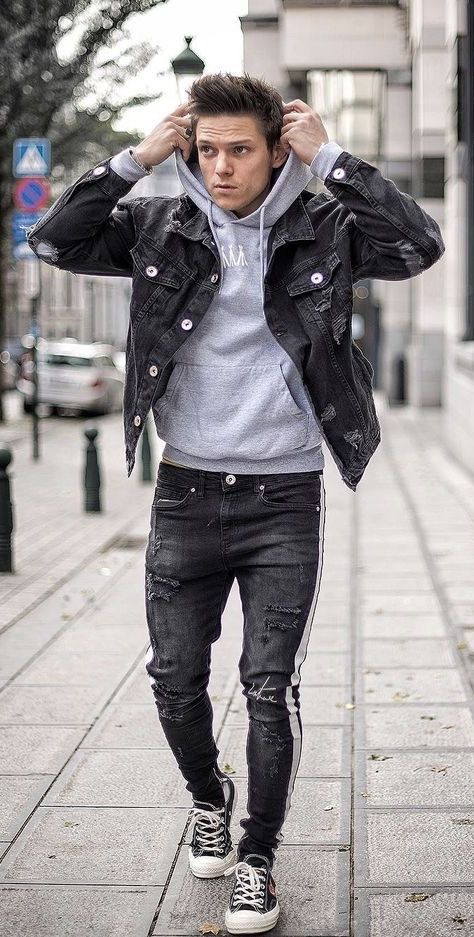 loic_vanlang - Casual fall outfit idea with a black denim jacket .