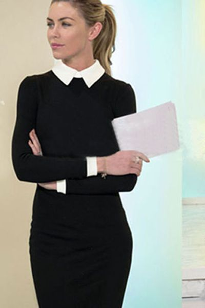 Fashion trends | Classic flattering black dress with white collar .