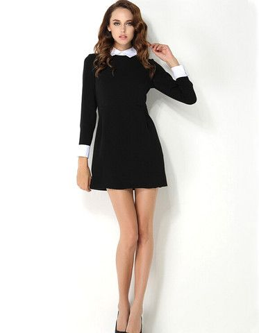 Elegant White Collar Long Sleeve Black Dress | Black long sleeve .