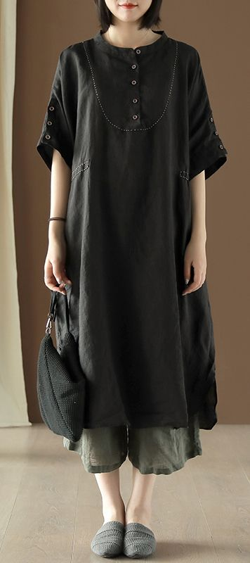 Style black linen dress o neck side open Vestidos De Lino summer .
