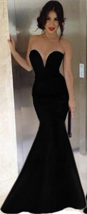 Black Prom Dress Sexy Mermaid Style Evening Party Gown pst0977 .