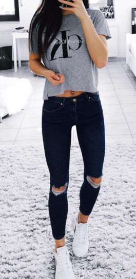summer outfits Grey Printed Top + Black Ripped Skinny Jeans .