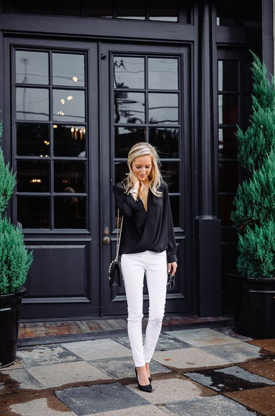15 Chic Outfit Ideas: How to Style Black Wrap Top - FMag.c
