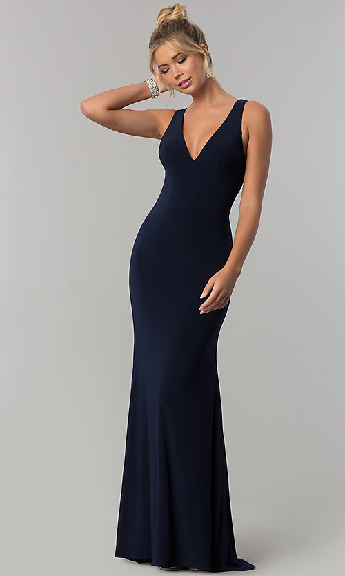Navy Blue V-Neck Prom Dress with Open Back - PromGi