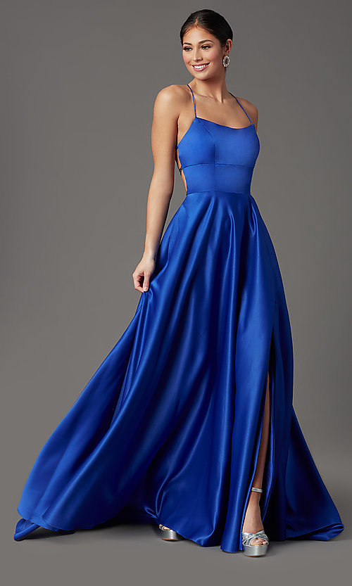 Royal Blue Long Corset-Back Prom Dress with Pocke