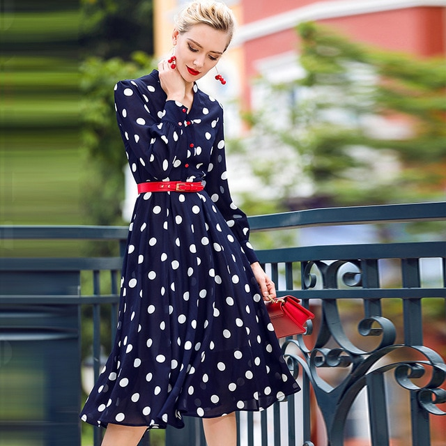 blue polka dot dress outfit > Factory Sto