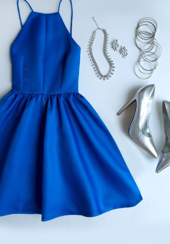 Navy Blue And Silver Royal Dress-homecoming dress-royal blue .