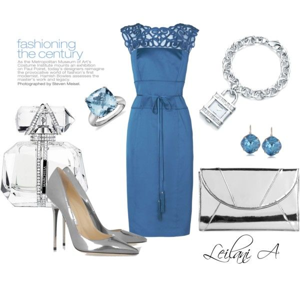 "polyvore, polyvore, fashions from polyvore ""Blue and Silver dress ."