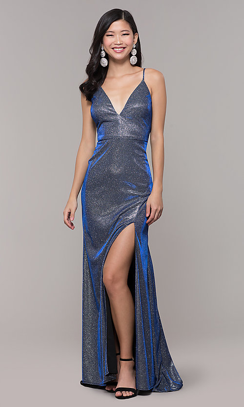 Blue and Silver Metallic Long Prom Dress - PromGi