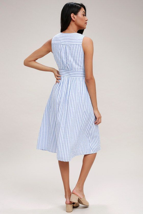 Nautical Lights Blue and White Striped Button-Front Midi Dress .