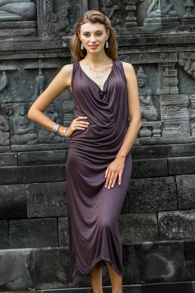 UNICEF Market | Cowl Neck Espresso Brown Rayon Maxi Dress from .
