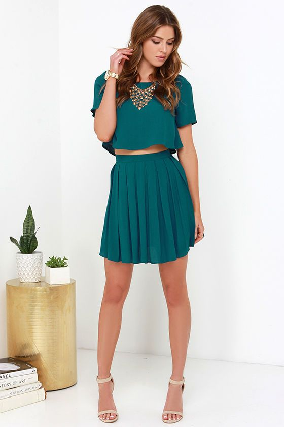 One and the Same Dark Teal Two-Piece Dress | Two piece dress, Teal .