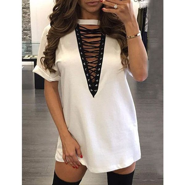 Club Style Deep V-Neck T-Shirt Dress with Lace Up Detail ($7.80 .