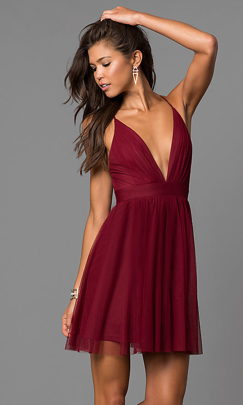 Deep V-Neck Short Party Dress in Wine Red - PromGi