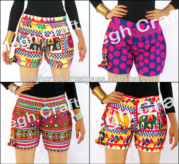 Indian Kutch Hand Embroidered Banjara Shorts - Traditional Style .