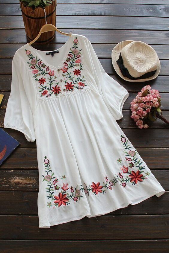 Embroidered Flora Vintage Style Boho Chic Peasant Dress One Size .