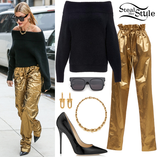 Hailey Baldwin: Off-Shoulder Sweater, Gold Pants | Steal Her Sty