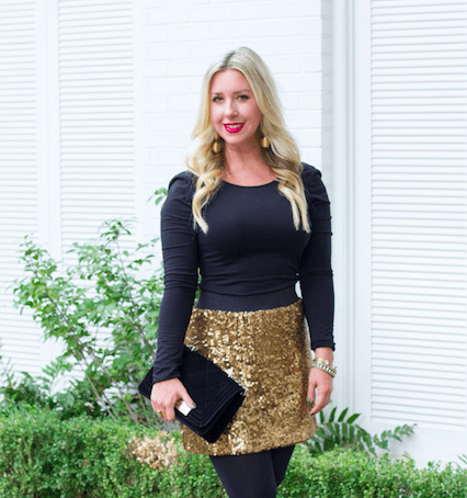 How To Style A Gold Sequin Skirt 2 Ways | The Darling Petite Di