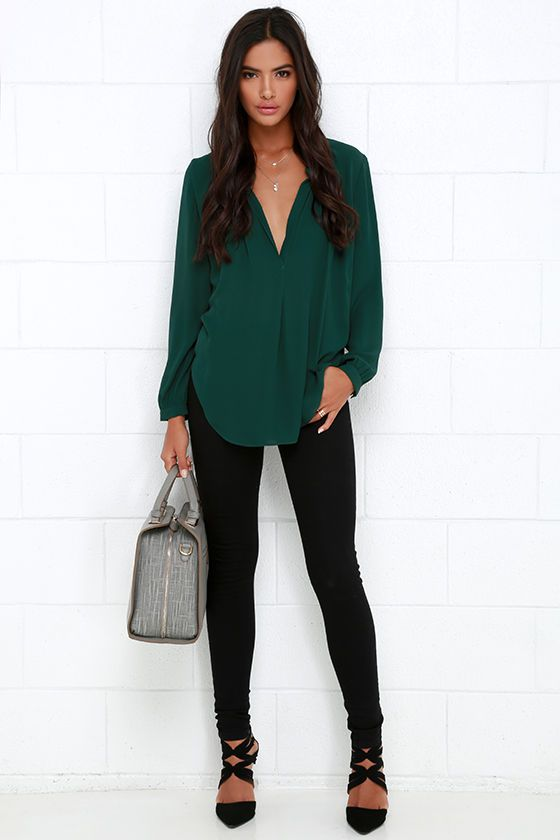 That Certain Something Dark Green Top | Green shirt outfits .