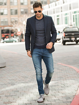 Black Blazer with Grey Dress Shoes Outfits For Men (6 ideas .