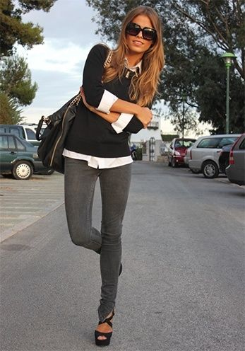 How To Wear Grey Jeans With Oomph! | Fashion, Style, Cute outfi