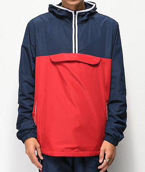 Fashion Style Half Zip Hoodie Stomach Pocket Windbreaker Jacket .