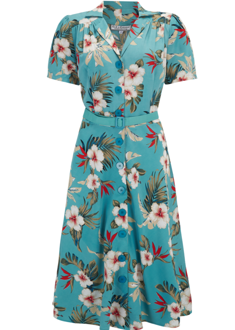 Shirtwaister Dress in Teal Hawaiian Print, Perfect 1950s Style .