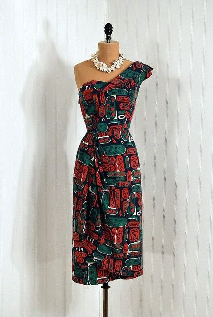 vintage one shoulder tiki print dress, not sure if it's an Alfred .