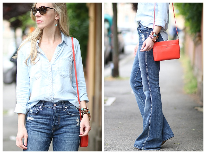 7 for all mankind high waist vintage bootcut jeans, rails LA .
