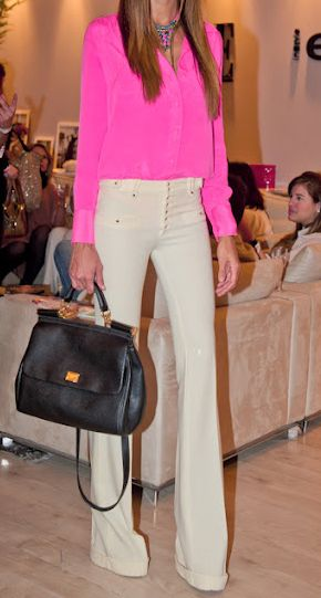 Pin by Җatie Җrueger on My Style | Hot pink blouses, Chic outfits .