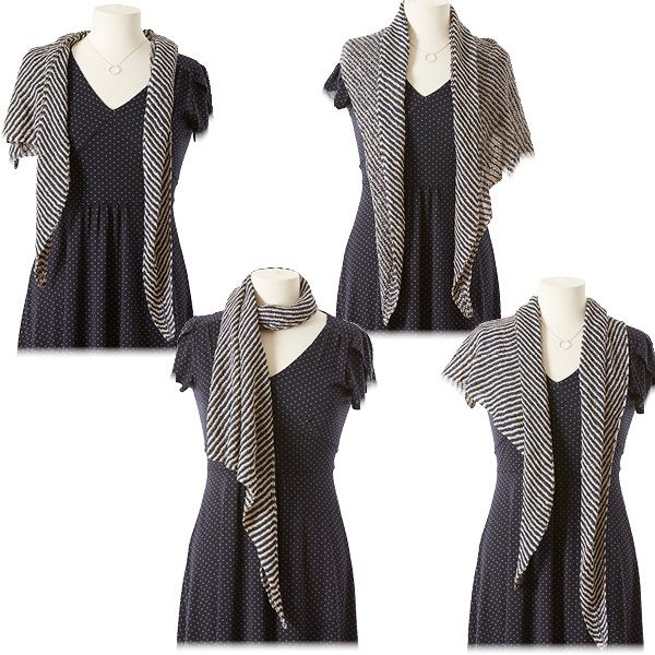 10 Ways to Style an Asymmetrical Shawl | Striped shawl, Get .