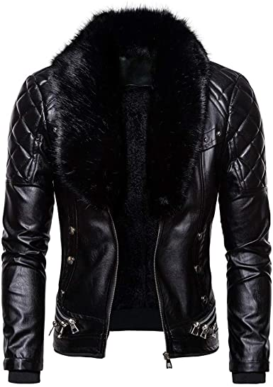 Stoota Men's Vintage Style Faux Fur Collar & Faux Leather Jacket .