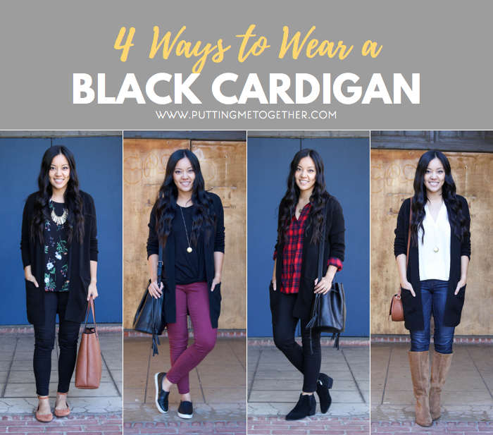 4 Ways to Wear a Black Cardigan - Putting Me Togeth