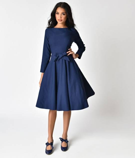 1940s Style Navy Blue Stretch Long Sleeve Swing Dress | Long .