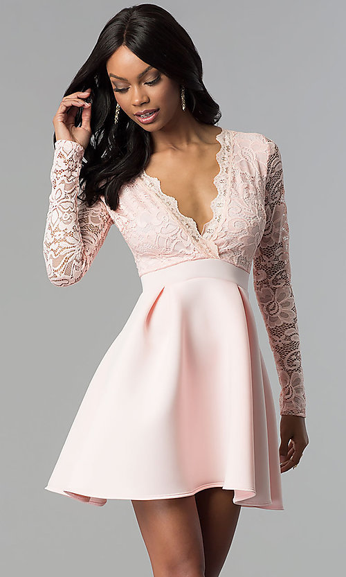 Long-Sleeve Back-Cut-Out Homecoming Dress - PromGi
