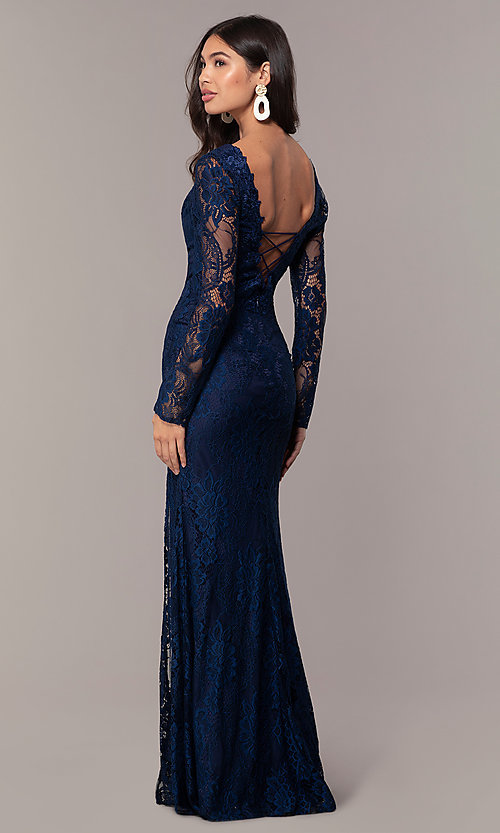 Long-Sleeve V-Neck Cheap Lace Prom Dress - PromGi