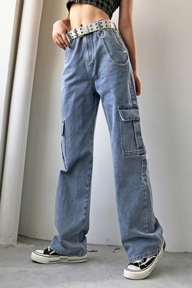 Casual Street Women's Mid Rise Belted Flap Pockets Chain .