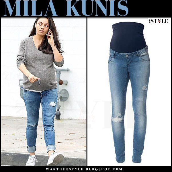 Mila Kunis in ripped skinny maternity jeans in Beverly Hills on .