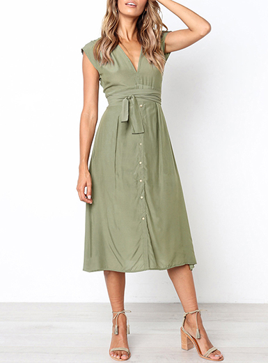 WMNS Casual Beck Style Midi Dress - Cap Sleeves / Tied Cinched .