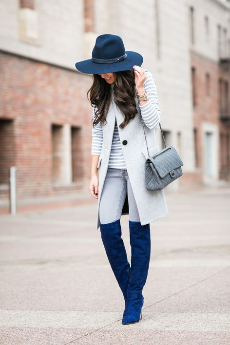Casual Blues :: Sapphire boots & Navy hat - Wendy's Lookbook .