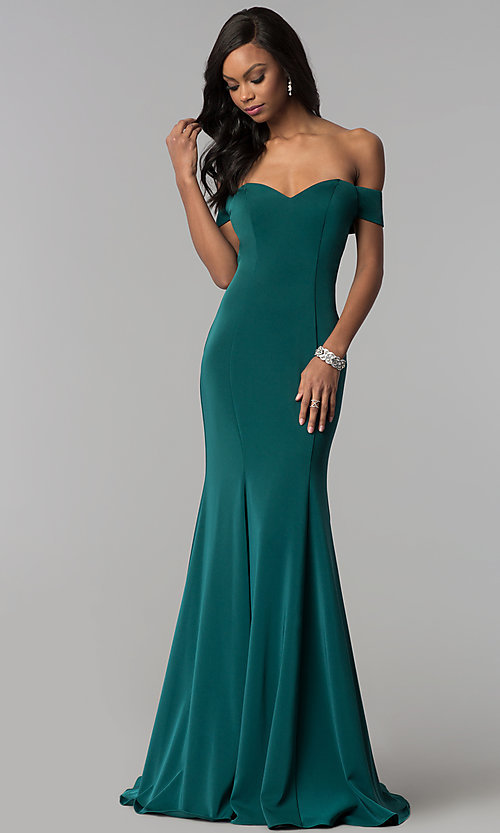 Off-the-Shoulder Long Formal Dress with Open Ba