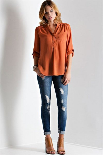 How to Style Orange Blouse: Top 13 Cheerful Outfit Ideas for Women .