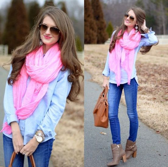 pop pink color scarf outfit – Just Trendy Gir