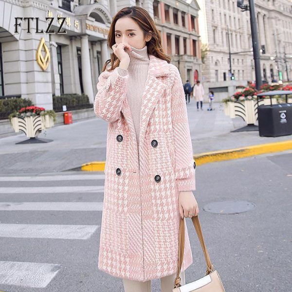 SAR 130.15 19% Off | Fashion plaid wool coat women autumn winter .