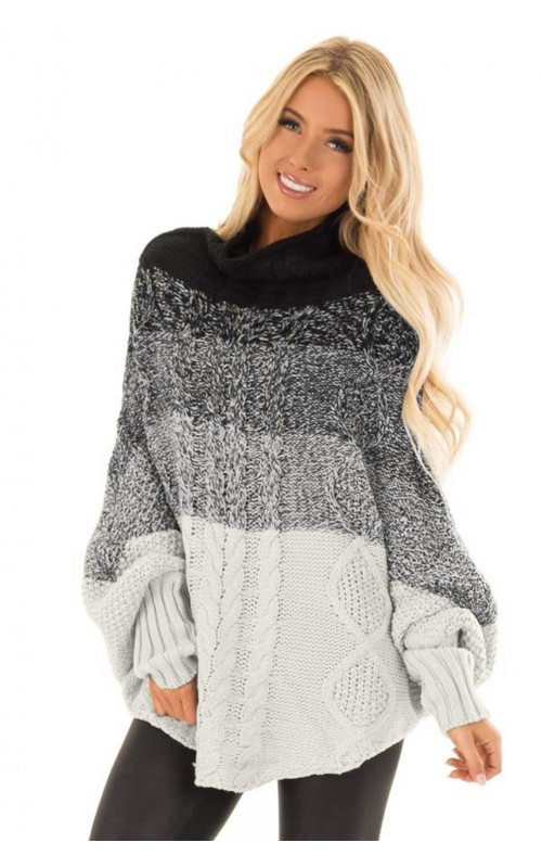 Black Ombre Thick Style Turtleneck Full Sleeve Regular Knit Poncho .
