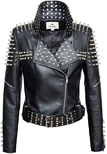LingLuoFang LLF Women's Faux Leather Studded Punk Style Cropped .