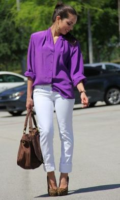 purple blouse outfit - Google Search | Purple shirt outfits .