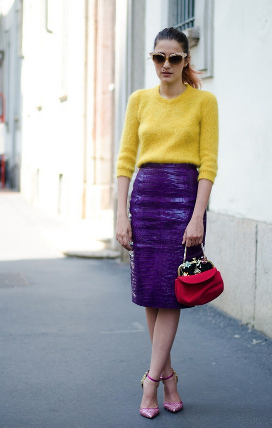 Colored Leather Skirts And How To Wear Them 2020 | FashionTasty.c