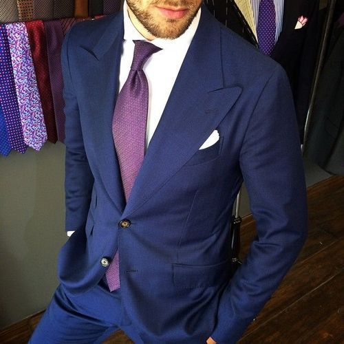 Navy Suit with Purple Tie